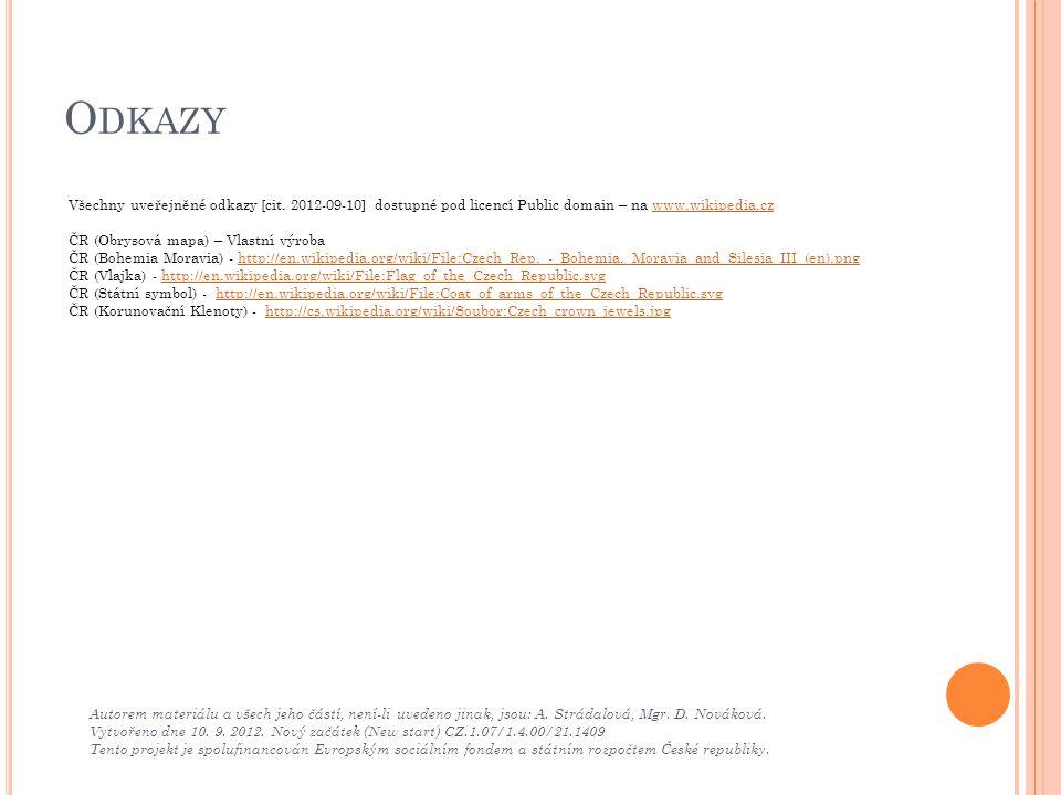 Odkazy Všechny uveřejněné odkazy [cit. 2012-09-10] dostupné pod licencí Public domain – na www.wikipedia.cz.